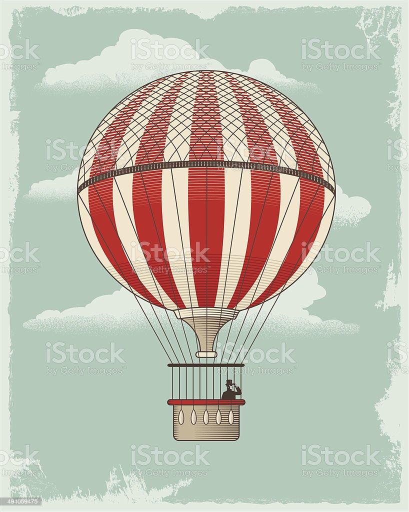 Vintage Retro Hot Air Balloon vector art illustration