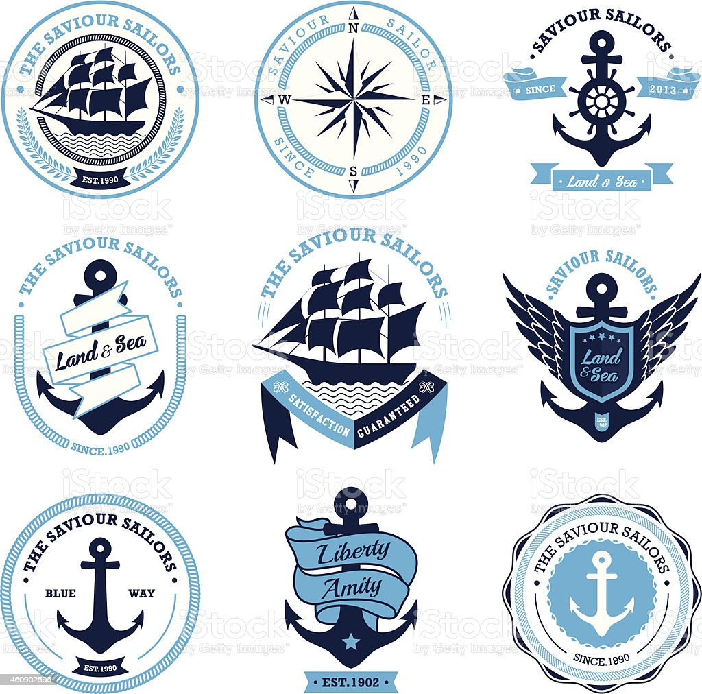 Vintage Retro Nautical Badges And Labels vector art illustration
