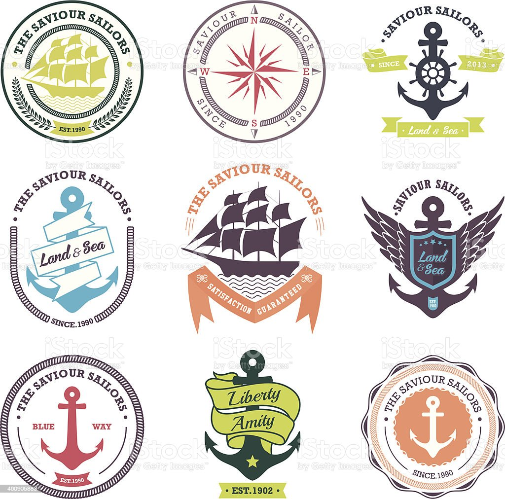 Vintage Retro Nautical Badges And Labels royalty-free stock vector art