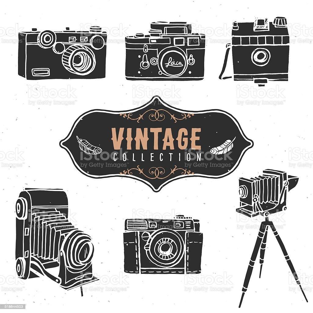 Vintage retro old camera collection. vector art illustration