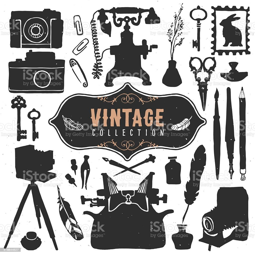 Vintage retro old things collection. vector art illustration