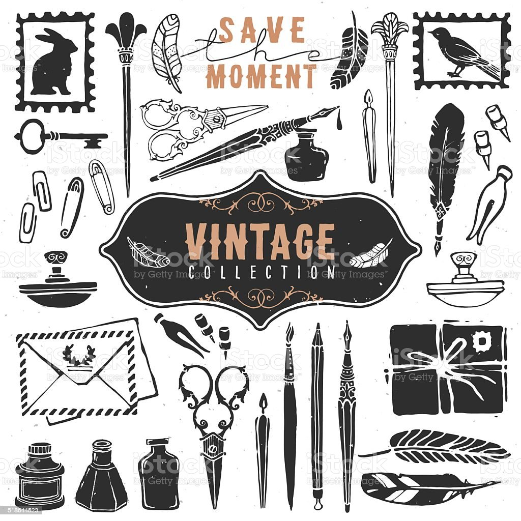 Vintage retro old things writer crafted collection. vector art illustration