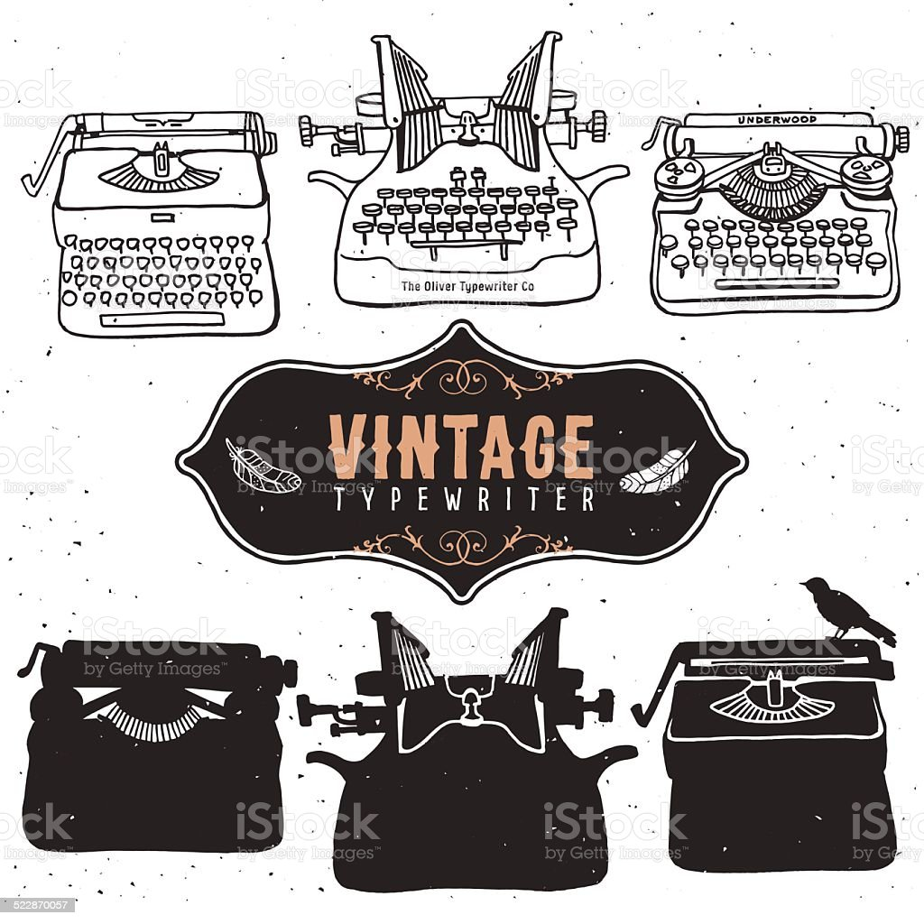 Vintage retro old typewriter collection. vector art illustration