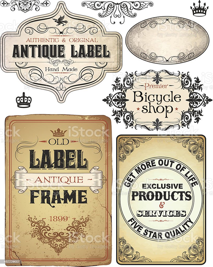 vintage retro Parchment Text Banners royalty-free stock vector art