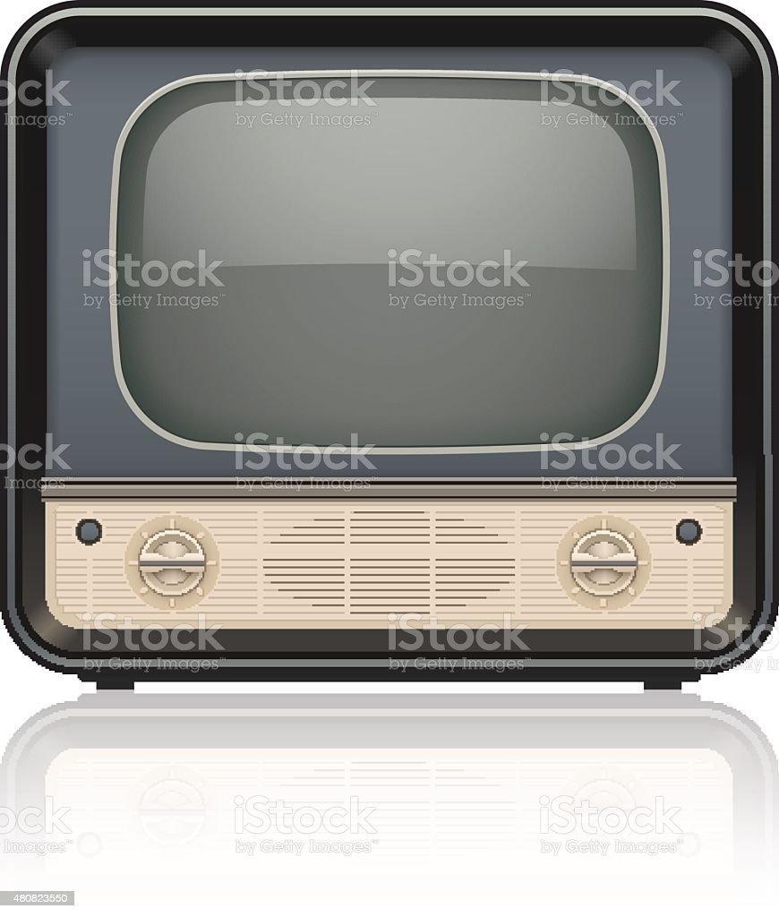 Vintage retro tv set icon vector art illustration