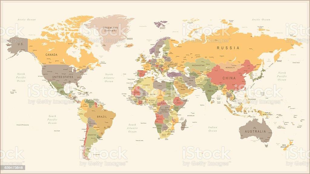 Vintage Retro World Map - illustration vector art illustration
