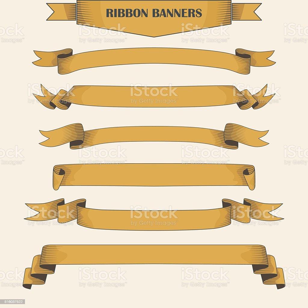 Vintage ribbon banners, hand drawn set vector art illustration