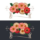 Vintage ribbon with flowers