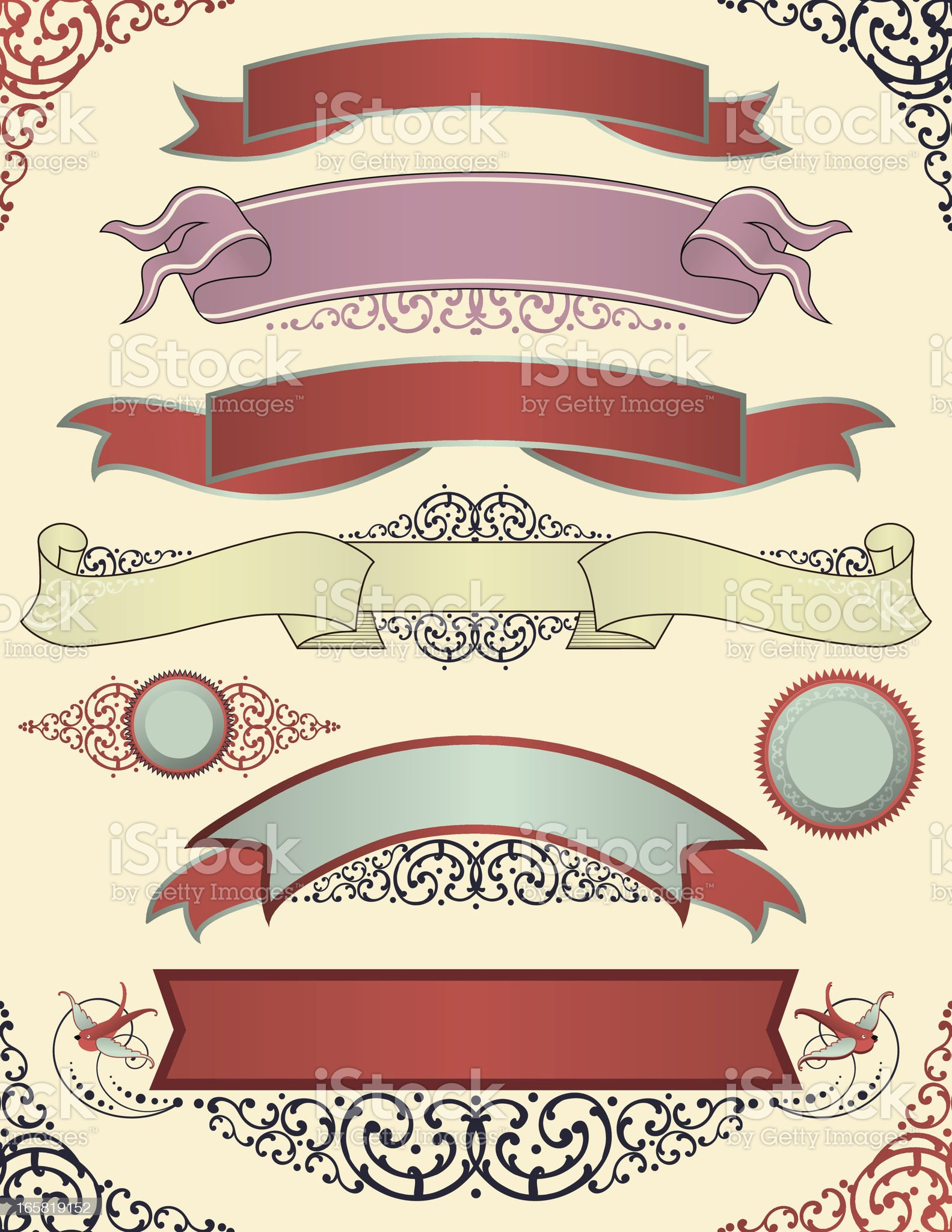 Vintage Ribbons and Banners royalty-free stock vector art