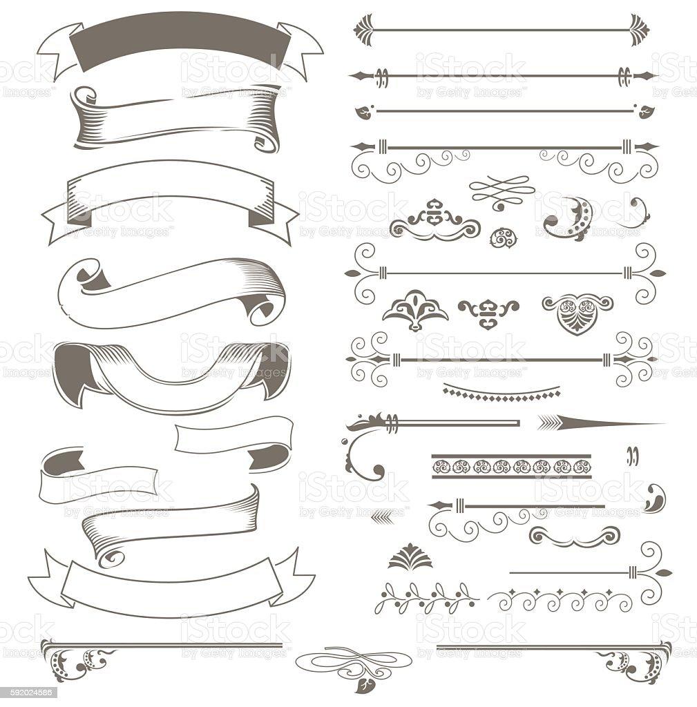 Vintage ribbons and design elements vector art illustration