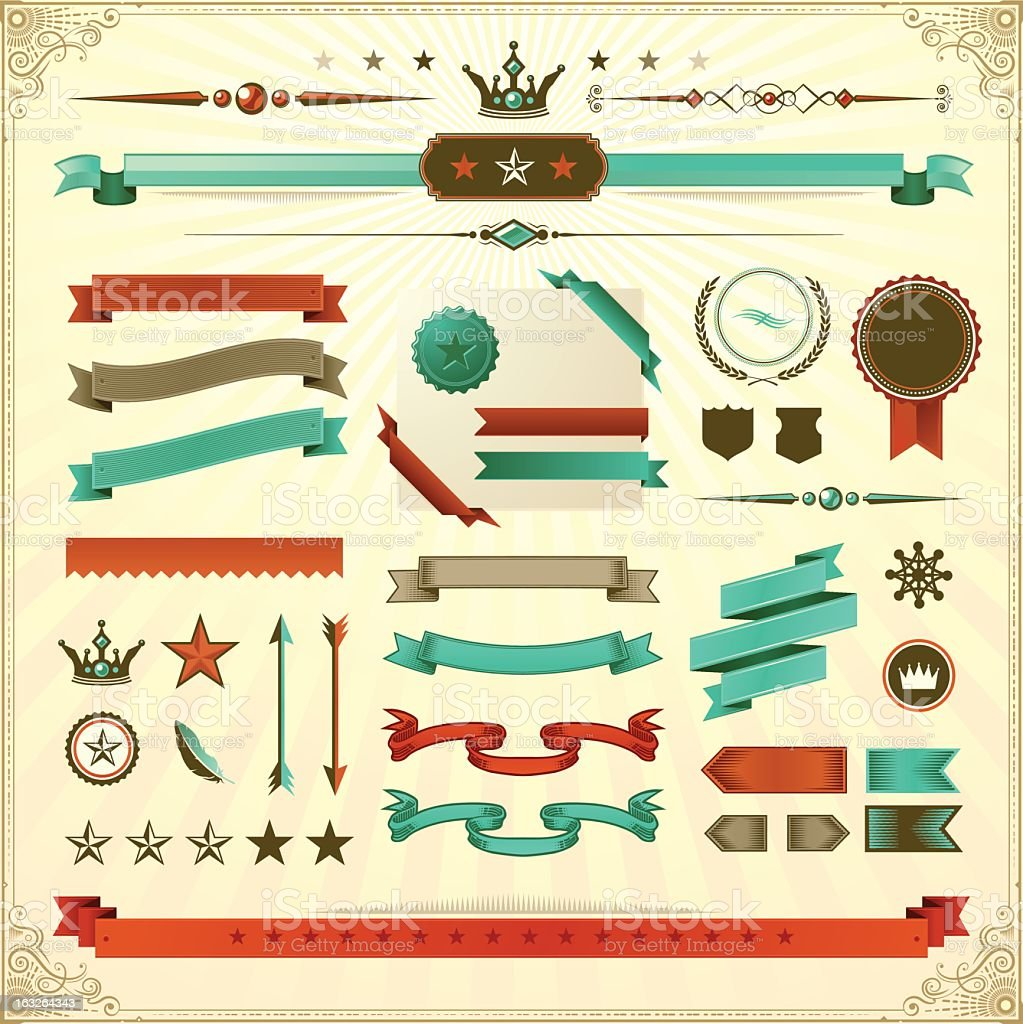 Vintage Ribbons & Ornaments royalty-free stock vector art