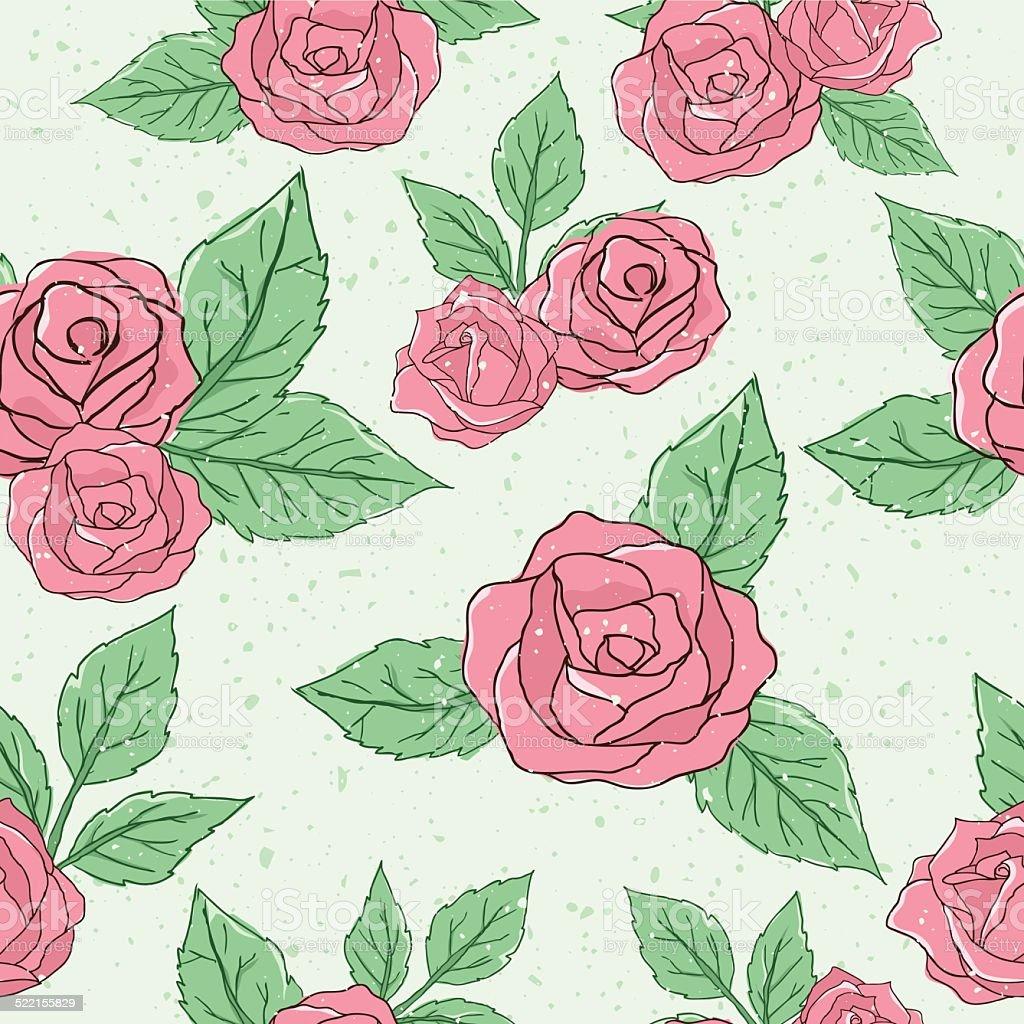 Vintage rose pattern vector art illustration