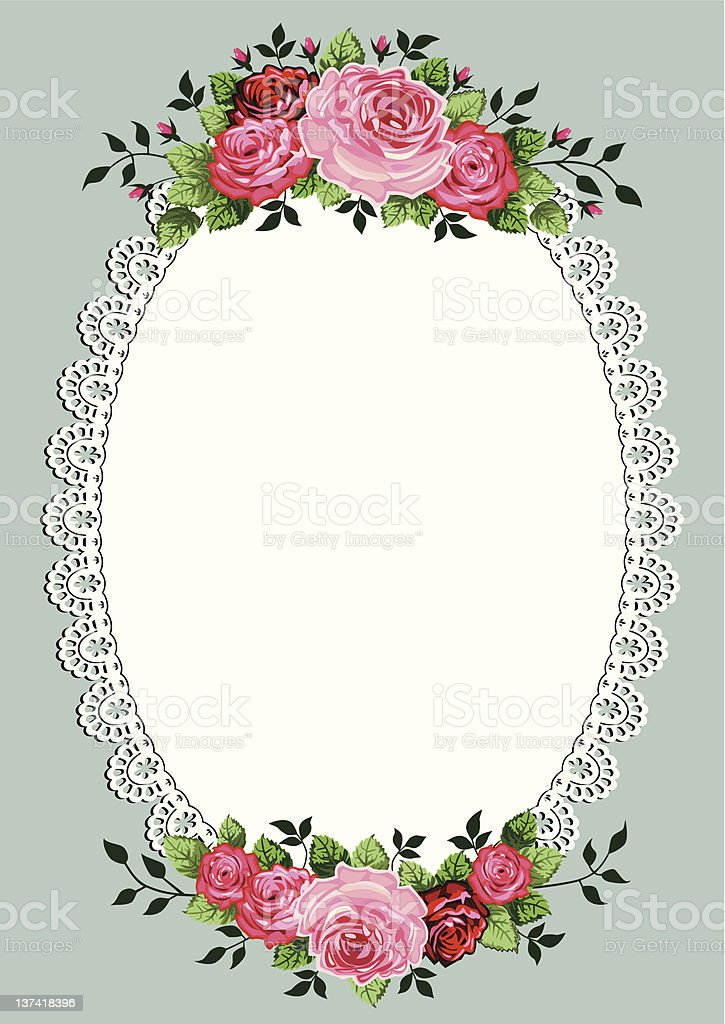 Vintage roses oval frame royalty-free stock vector art