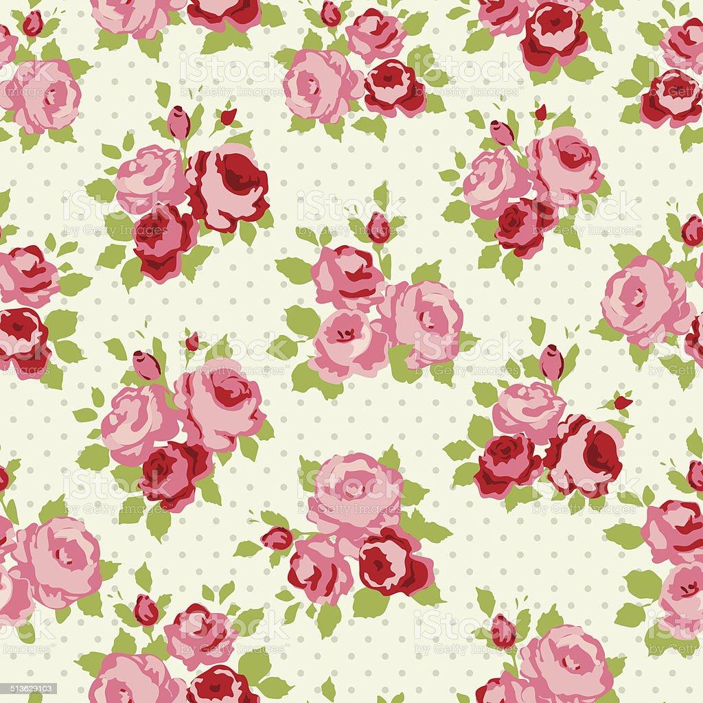 Vintage roses pattern vector art illustration