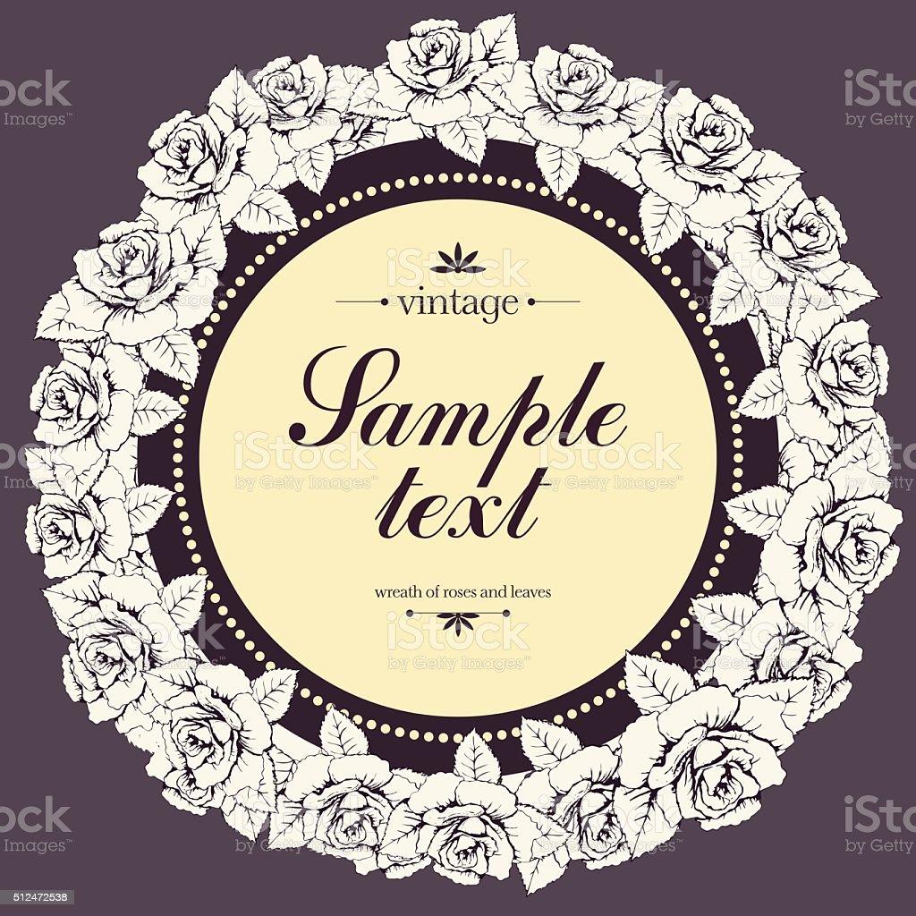 Vintage round frame of rose flower, flower garland, banner. Wreath royalty-free stock vector art