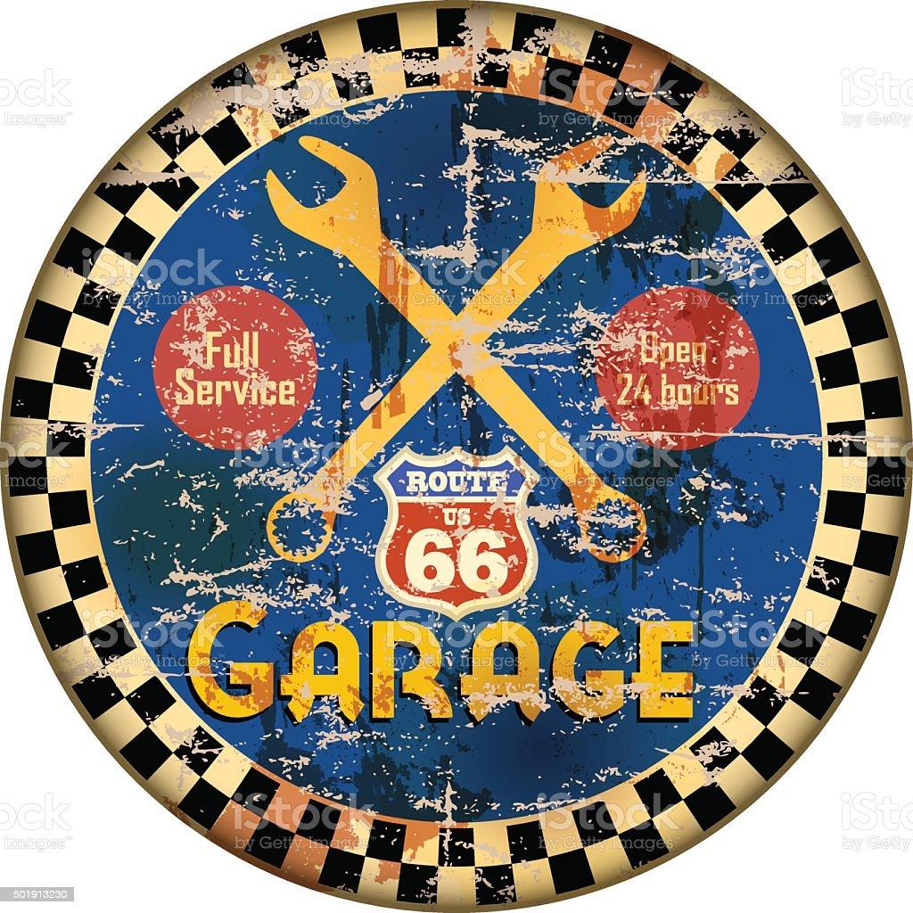 Vintage route 66 garage workshop sign vector art illustration