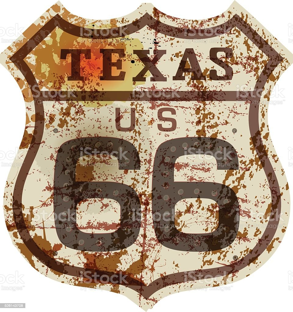 vintage route 66 road sign, vector art illustration