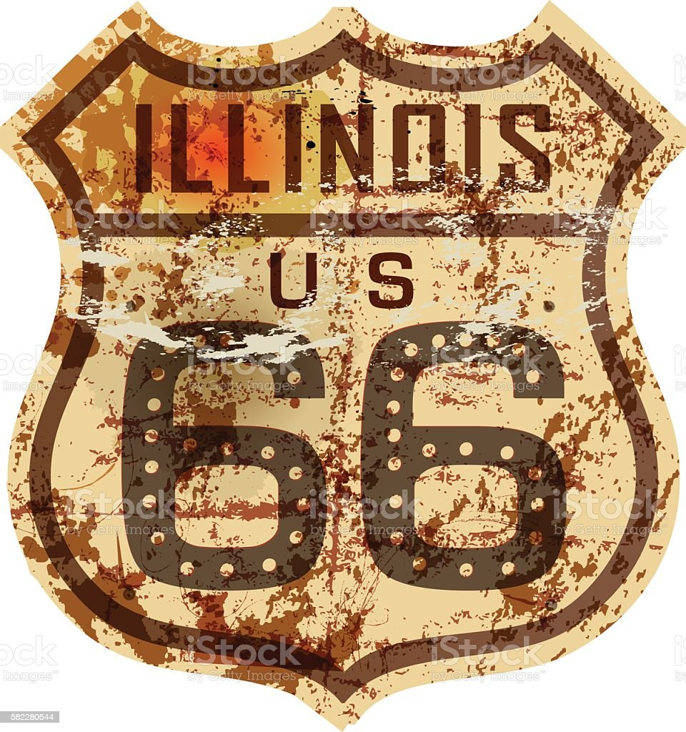 vintage route 66 road sign,Illinois vector art illustration