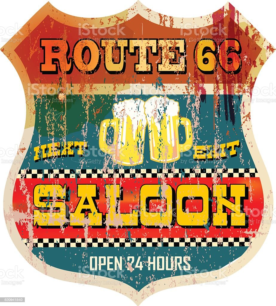 Vintage route sixty six saloon sign vector art illustration