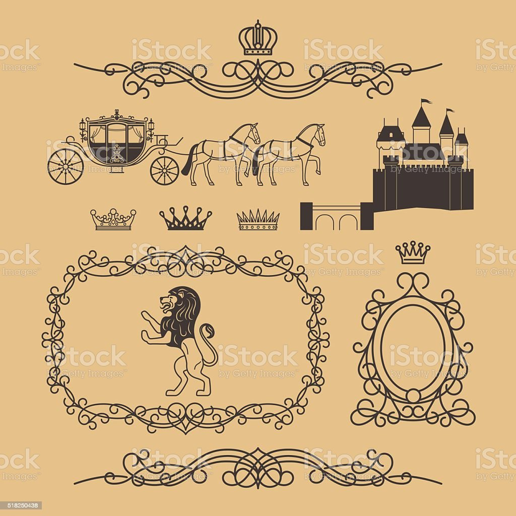 Vintage royal and princess decor elements vector art illustration