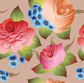 Vintage russian floral pattern vector