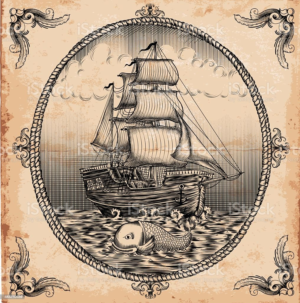vintage sailboat vector art illustration