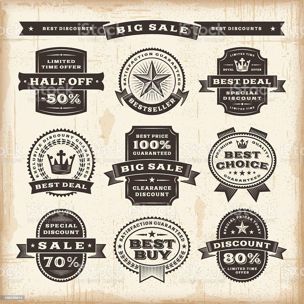 Vintage sale labels set vector art illustration