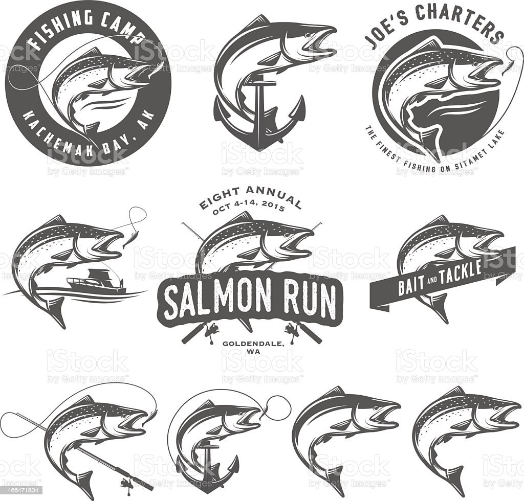Vintage salmon fishing emblems and design elements vector art illustration