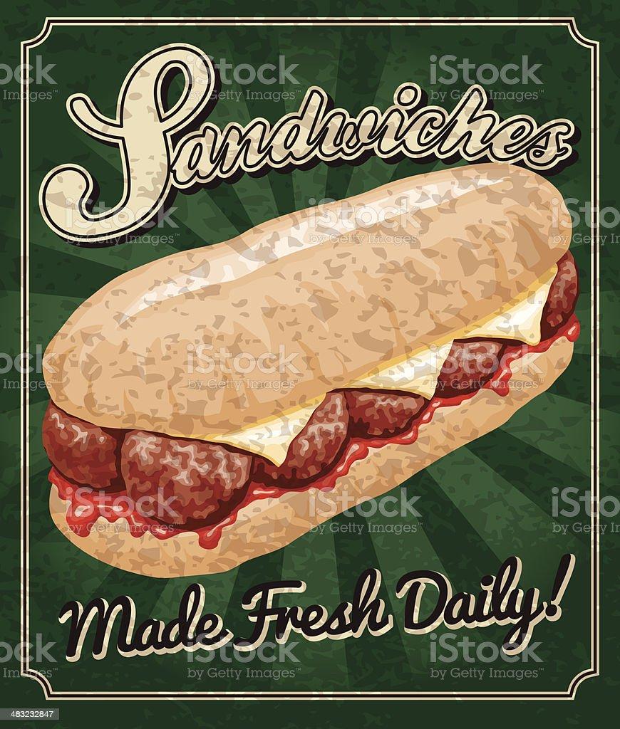 Vintage Sandwich Poster vector art illustration