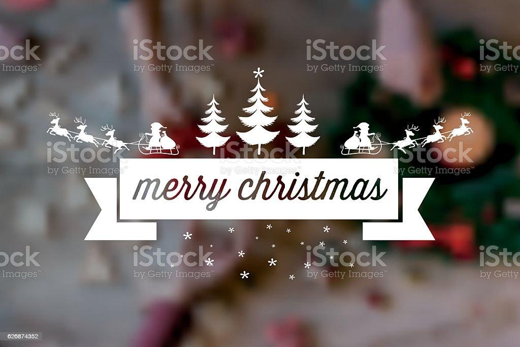 vintage santa claus sleigh badge on blurred christmas table vector art illustration