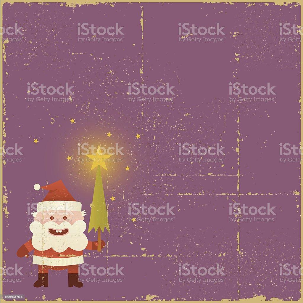 Vintage Santa with Magic Tree royalty-free stock vector art