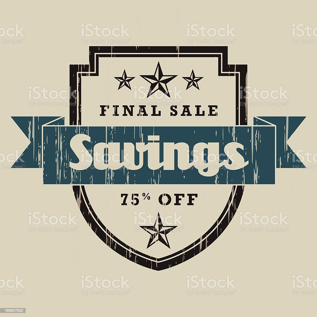 Vintage Savings Label royalty-free stock vector art