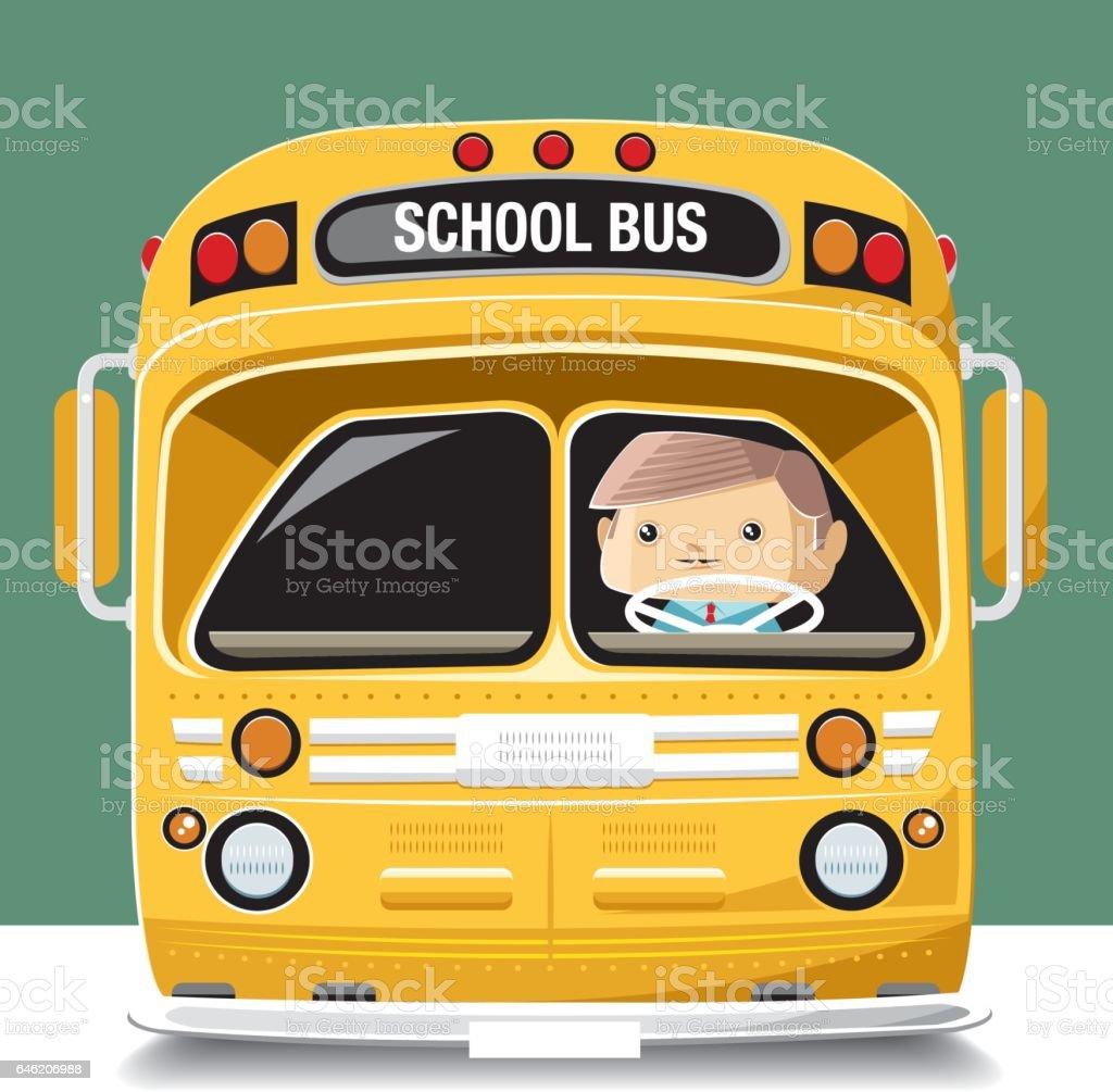 Vintage schoolbus vector art illustration