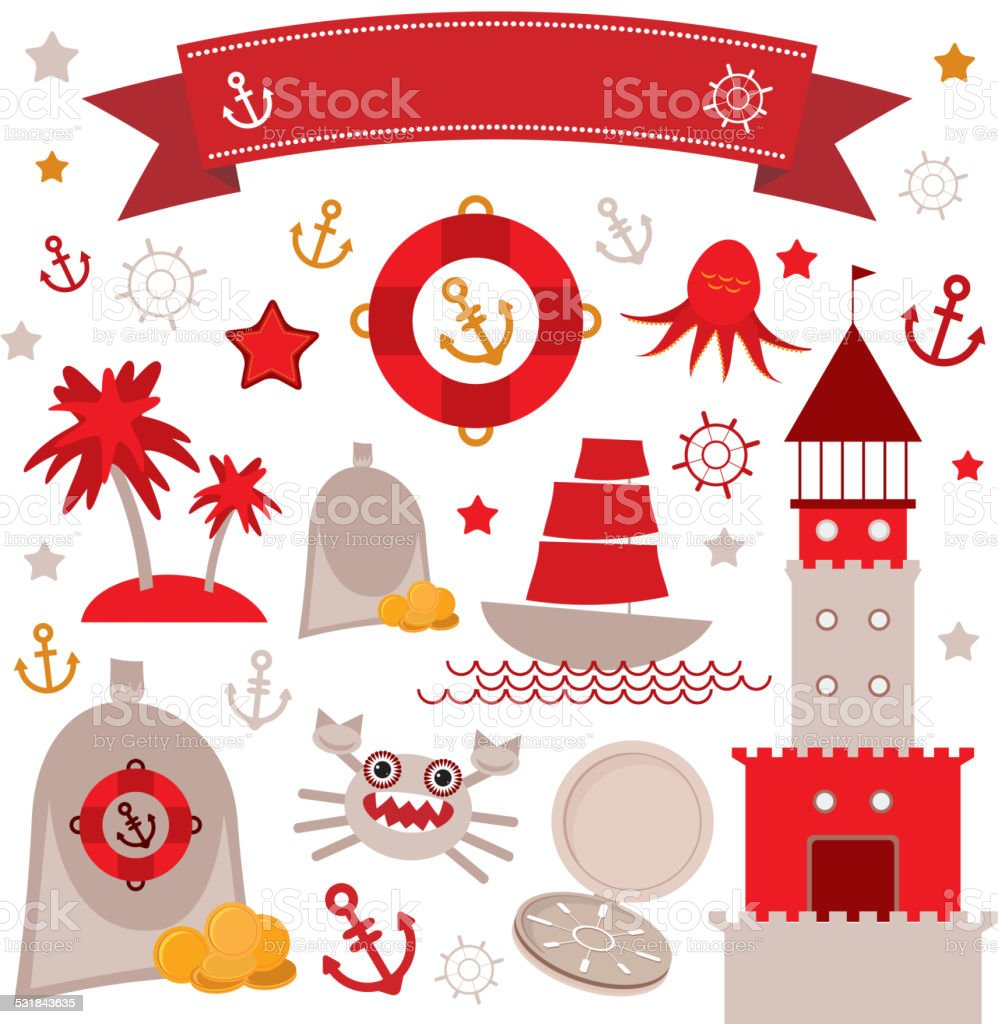 Vintage scrap nautical set cute sea objects. Red, gray, yellow. vector art illustration