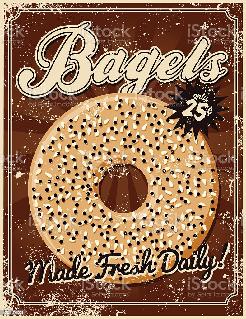 Vintage Screen Printed Bagel Poster vector art illustration