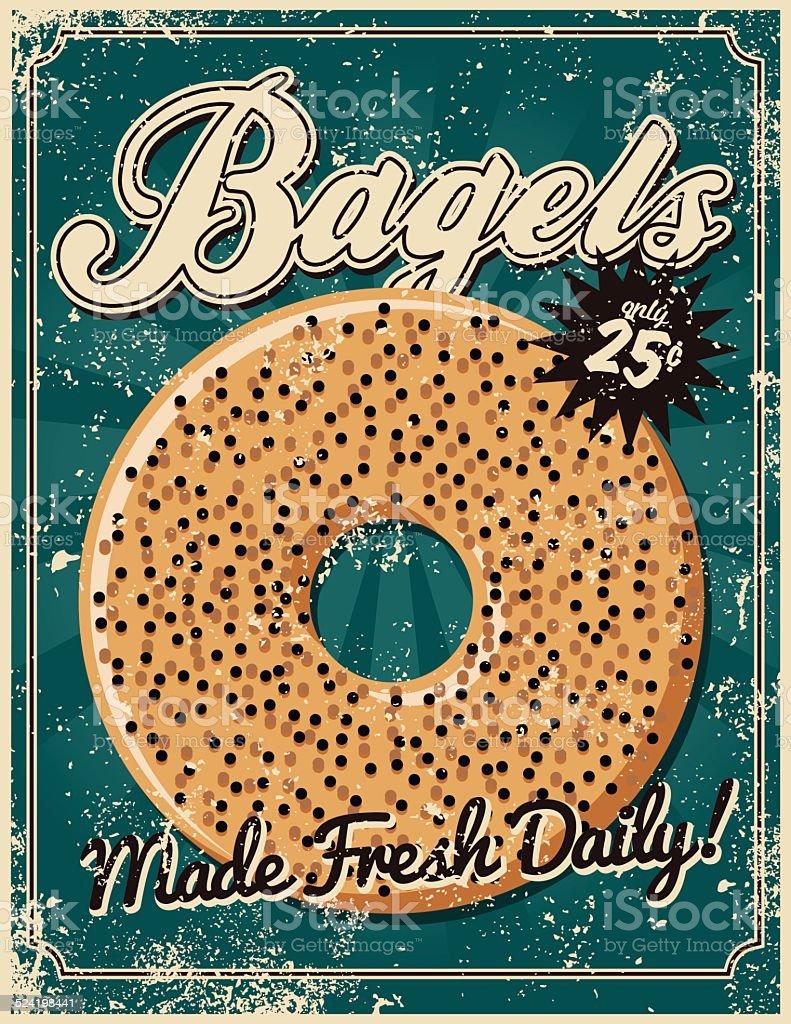 Vintage Screen Printed Bagel Poster vector art illustration