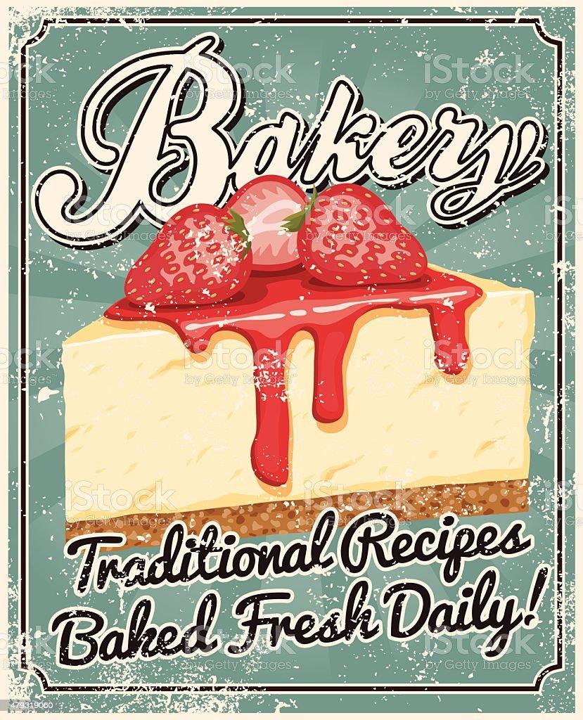 Vintage Screen Printed Bakery Poster vector art illustration