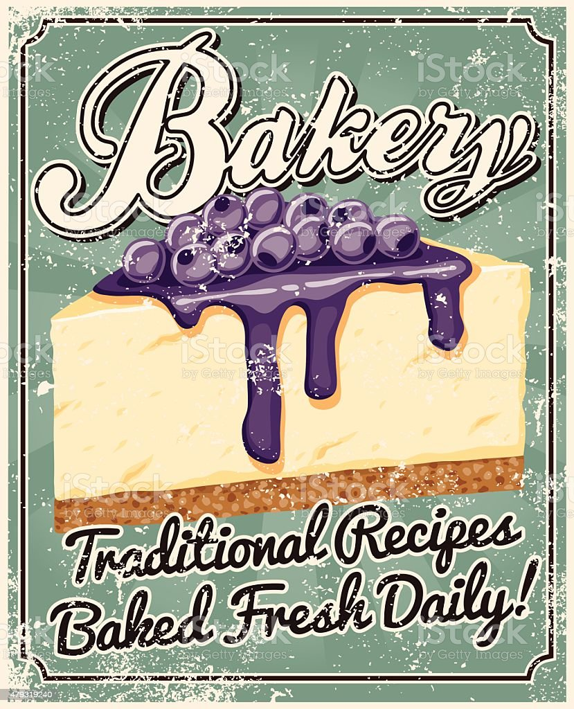 Vintage Screen Printed Bakery Poster vector art illustration