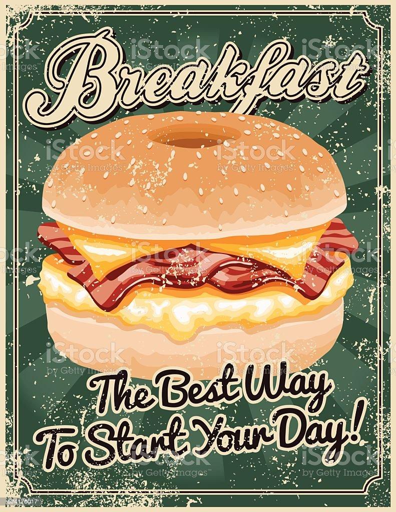 Vintage Screen Printed Breakfast Poster vector art illustration