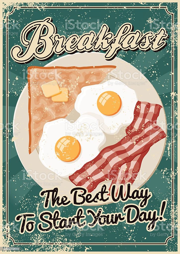 Vintage Screen Printed Breakfast Poster vector art illustration