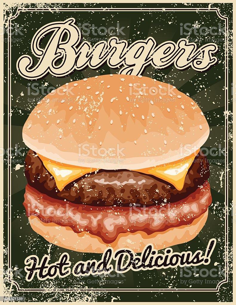 Vintage Screen Printed Burger Poster vector art illustration