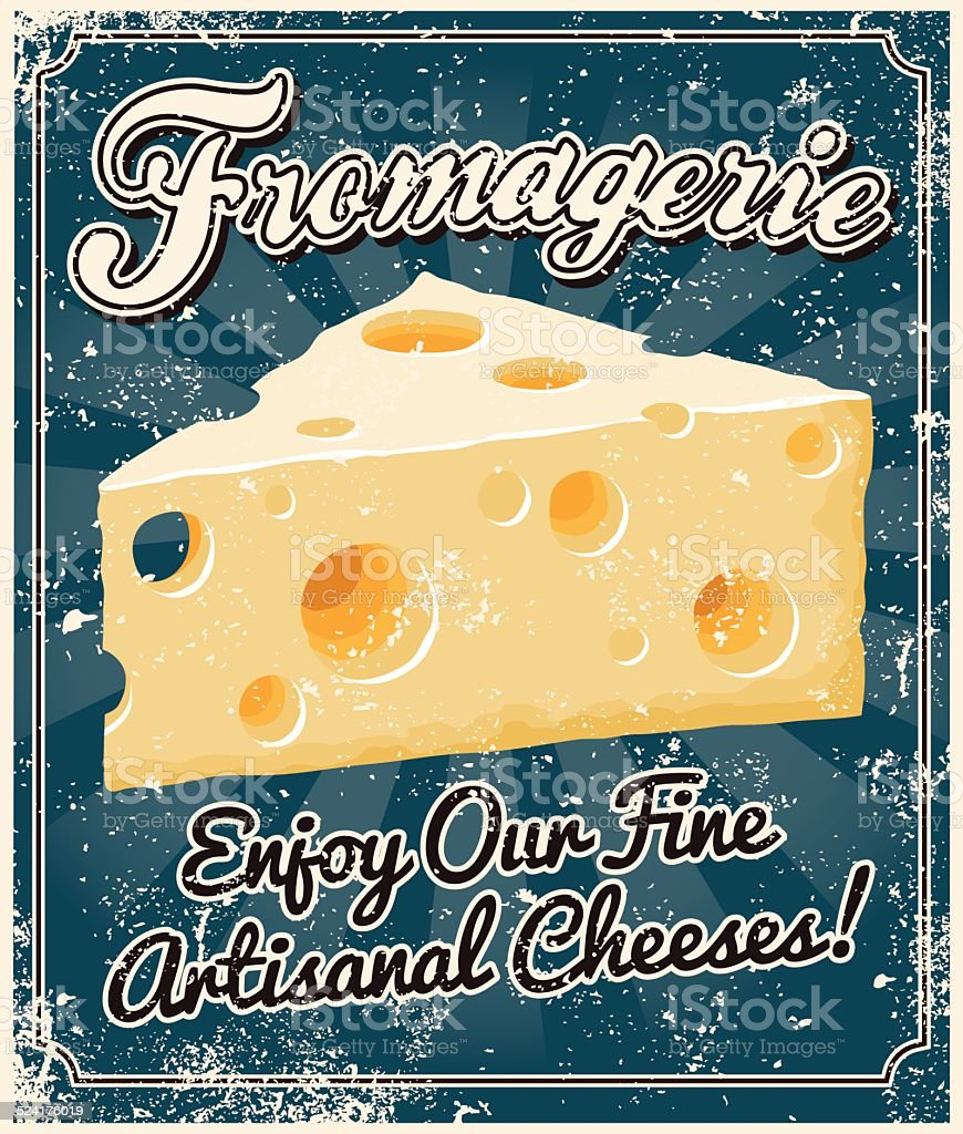 Vintage Screen Printed Cheese Poster vector art illustration