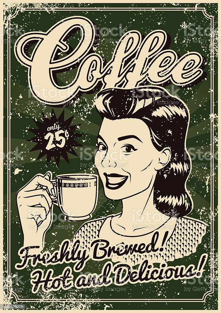 Vintage Screen Printed Coffee Poster vector art illustration