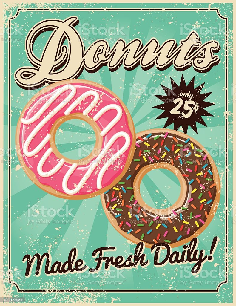 Vintage Screen Printed Donuts Poster vector art illustration