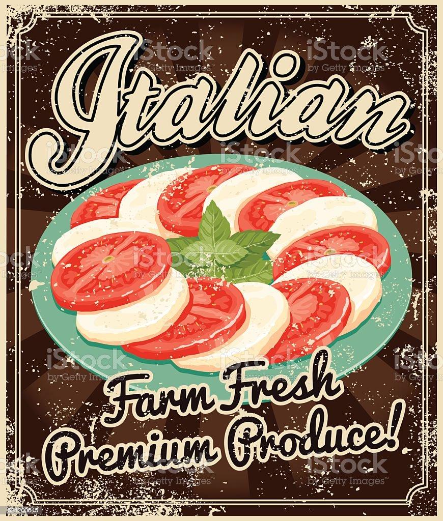 Vintage Screen Printed Italian Food Poster vector art illustration