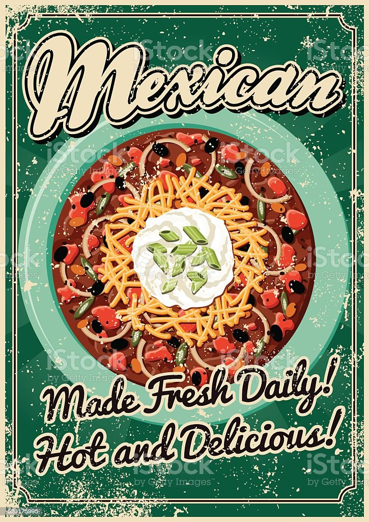 Vintage Screen Printed Mexican Food Poster vector art illustration