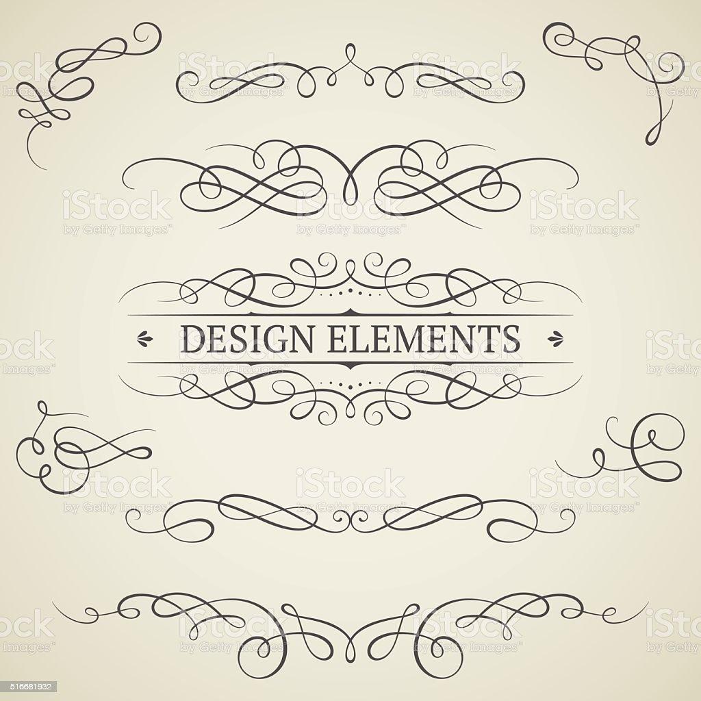 Vintage scroll elements vector art illustration