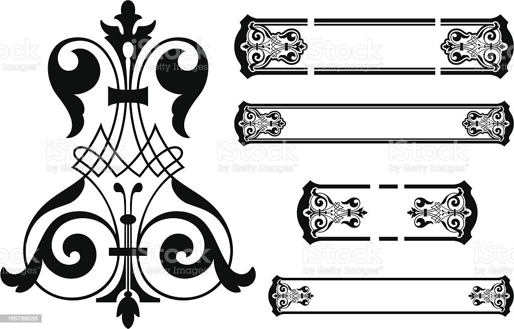 Vintage Scroll Panel Designs royalty-free stock vector art