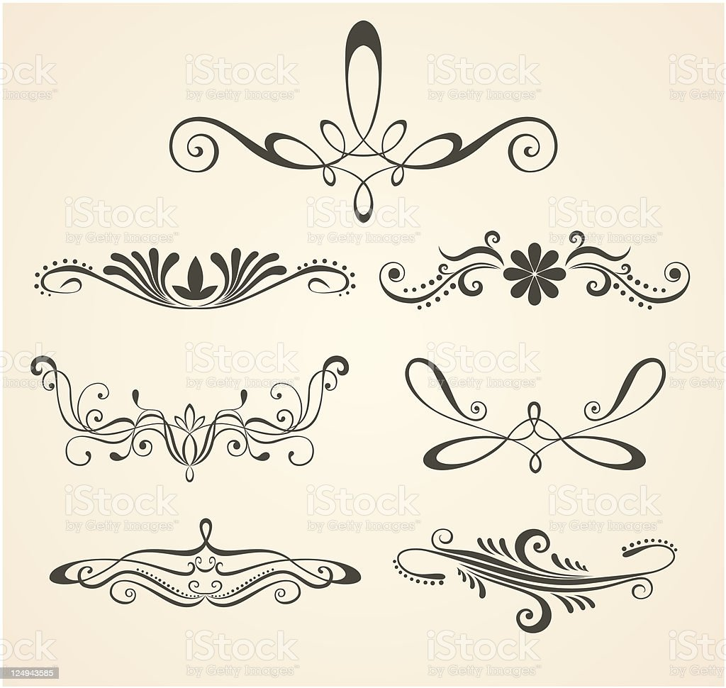 Vintage scrolls. Design elements and page decoration. royalty-free stock vector art