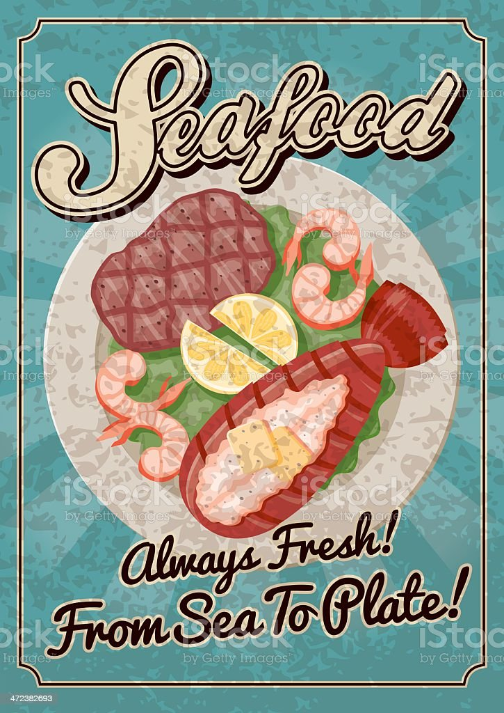 Vintage Seafood Poster royalty-free stock vector art